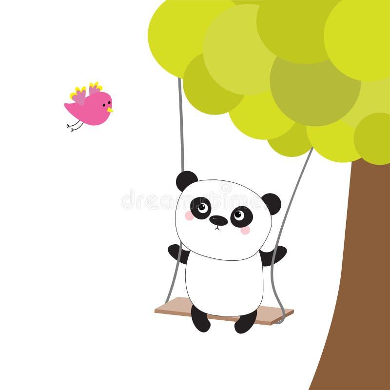 Pandaritt på gungan grön tree Flygrosa färgfågel Gulligt fett tecknad filmtecken Kawaii behandla som ett barn samlingen papper fö royaltyfri illustrationer