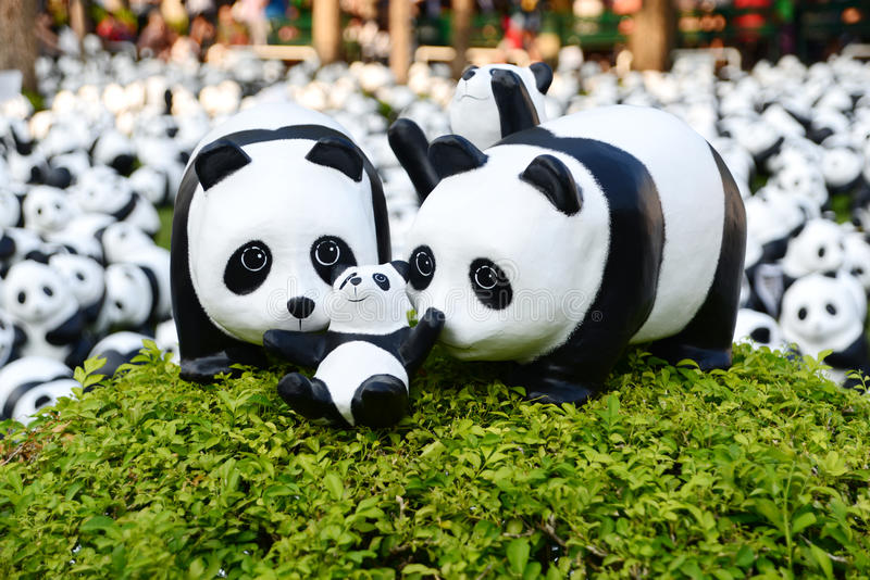 1600 Pandas. BANGKOK, THAILAND - MAR 12: 1600 Pandas World Tour in Thailand by WWF at Santi Chai Prakan Pavilion and Public Park. These paper marche pandas are royalty free stock photos