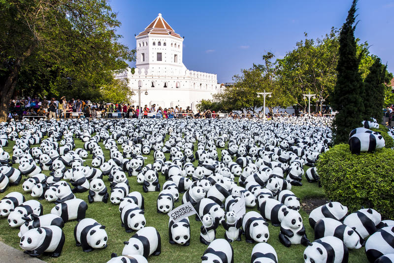 1600 Pandas. BANGKOK,THAILAND-MAR 12:1600 Pandas World Tour by WWF at Santi Chai Prakan Park on March 12, 2016. These paper marche pandas are made from recycled stock images