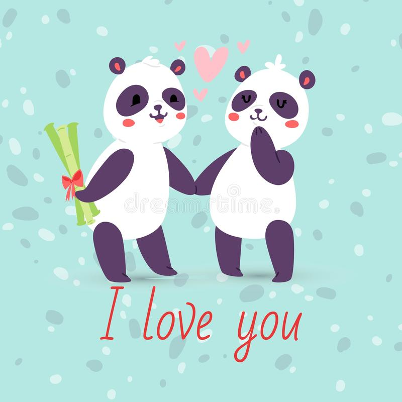 Pandas couple in love banner, greeting card vector illustration. Cartoon adorable animals holding hands. Flying hearts royalty free illustration