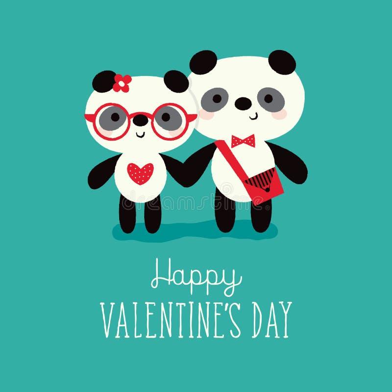 Pandas de carte de jour de valentines dans l'amour sur la menthe illustration de vecteur