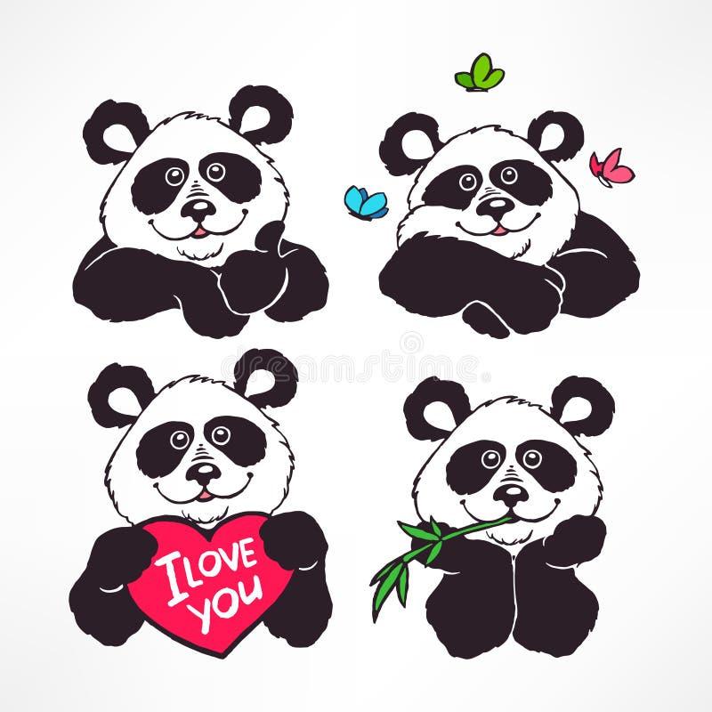 Pandas de sourire mignons illustration de vecteur