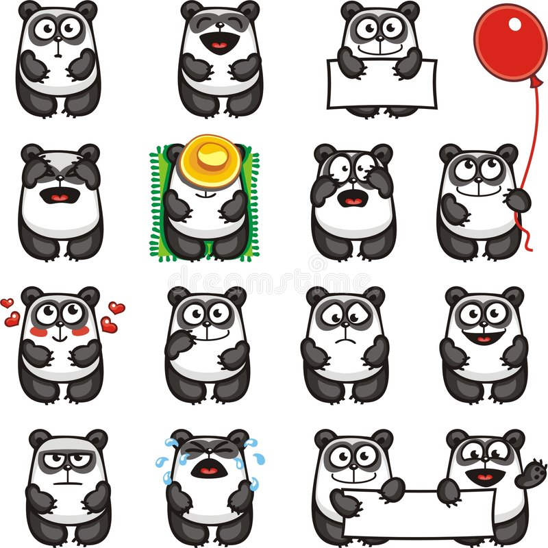 Pandas divertidas (2) ilustración del vector