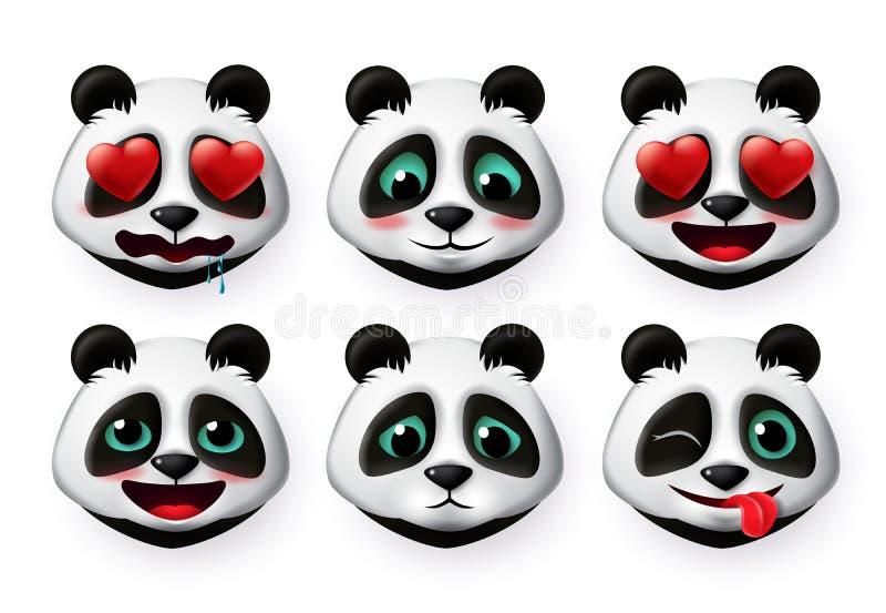 Pandas emojis och bär på vektoruppsättningen emotikoner Panda-björnens huvud är emoji som blyga och obehagliga, söta uttryck royaltyfri illustrationer