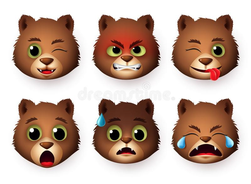 Pandas emoticon face vector set. Emoji of pandas bear animal character faces with angry, scared, crying, surprise. royalty free stock image