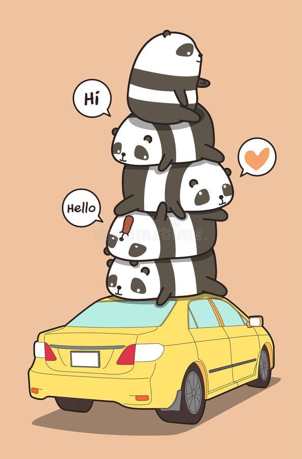 Pandas en el coche amarillo en estilo de la historieta stock de ilustración