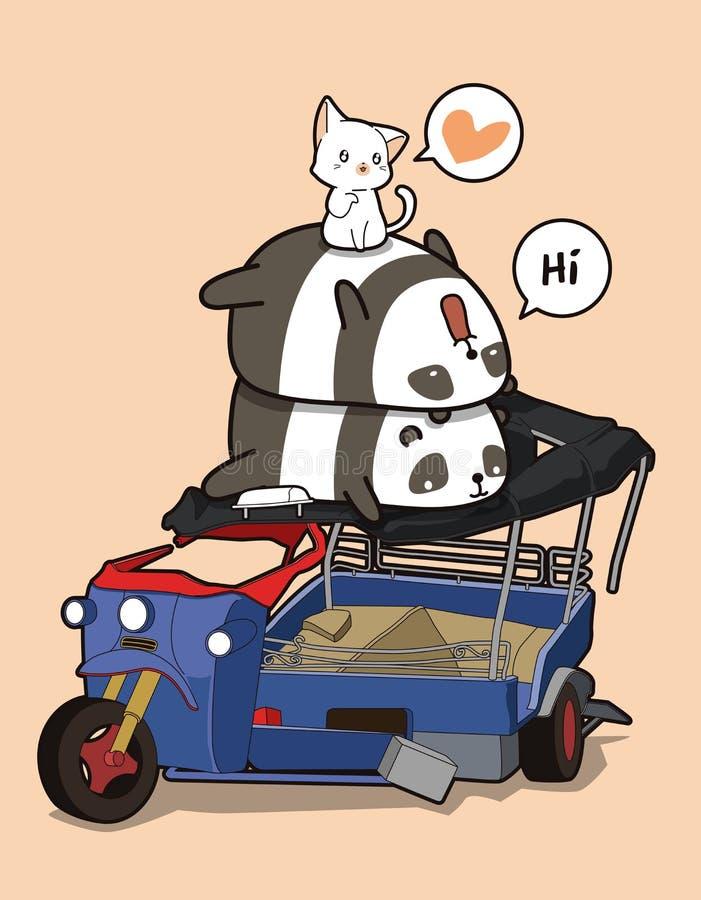 Pandas et chats de Kawaii avec le tricycle cassé de moteur illustration stock
