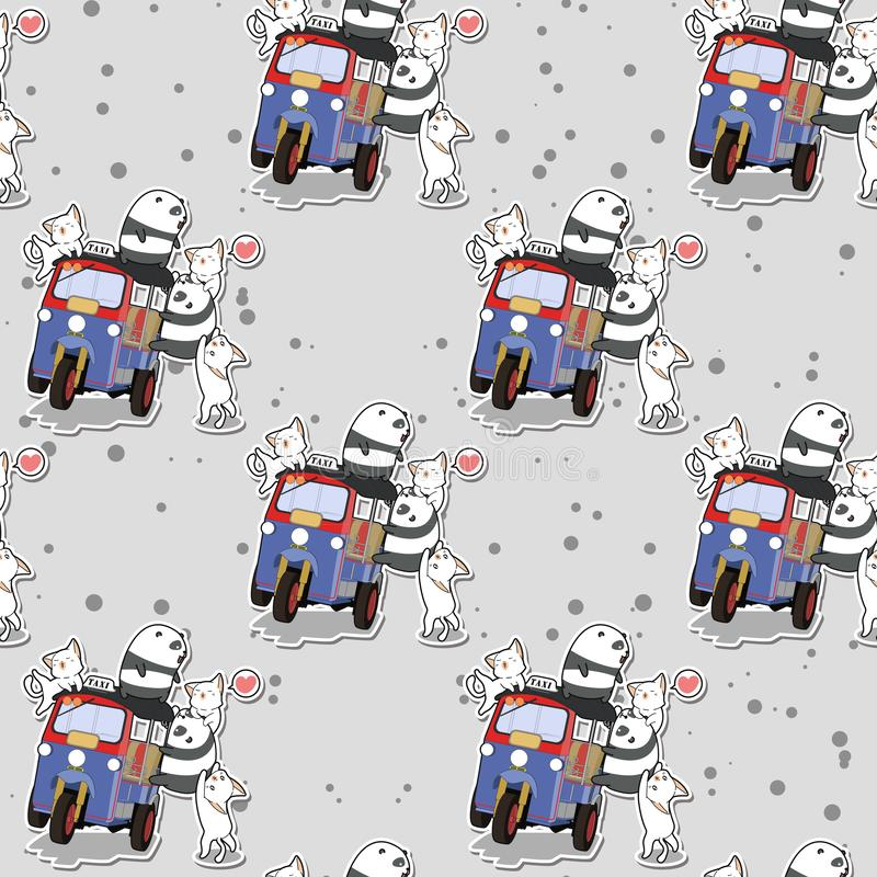 Pandas et chats sans couture de kawaii avec le modèle de tricycle de moteur illustration stock