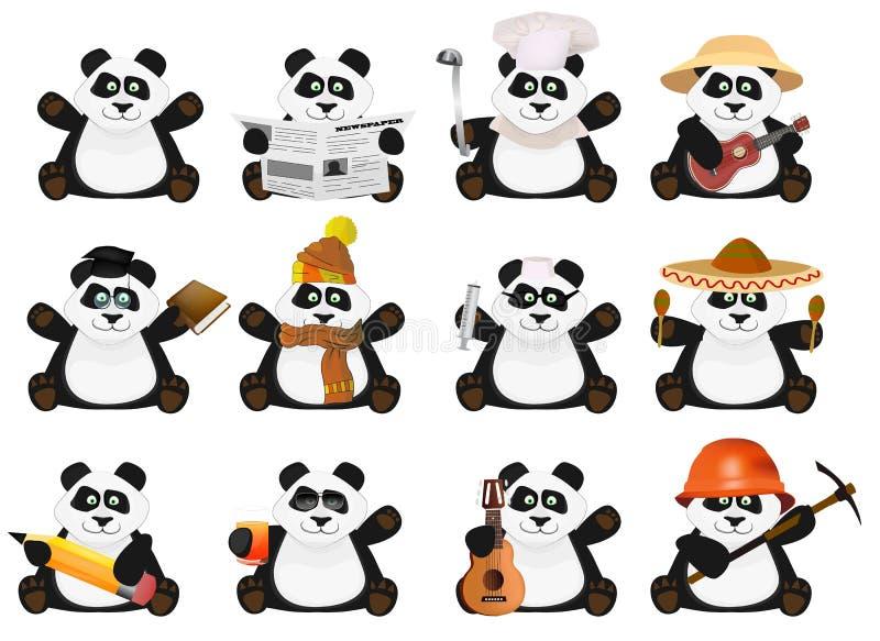 Pandas gentils de bande dessinée réglés illustration de vecteur