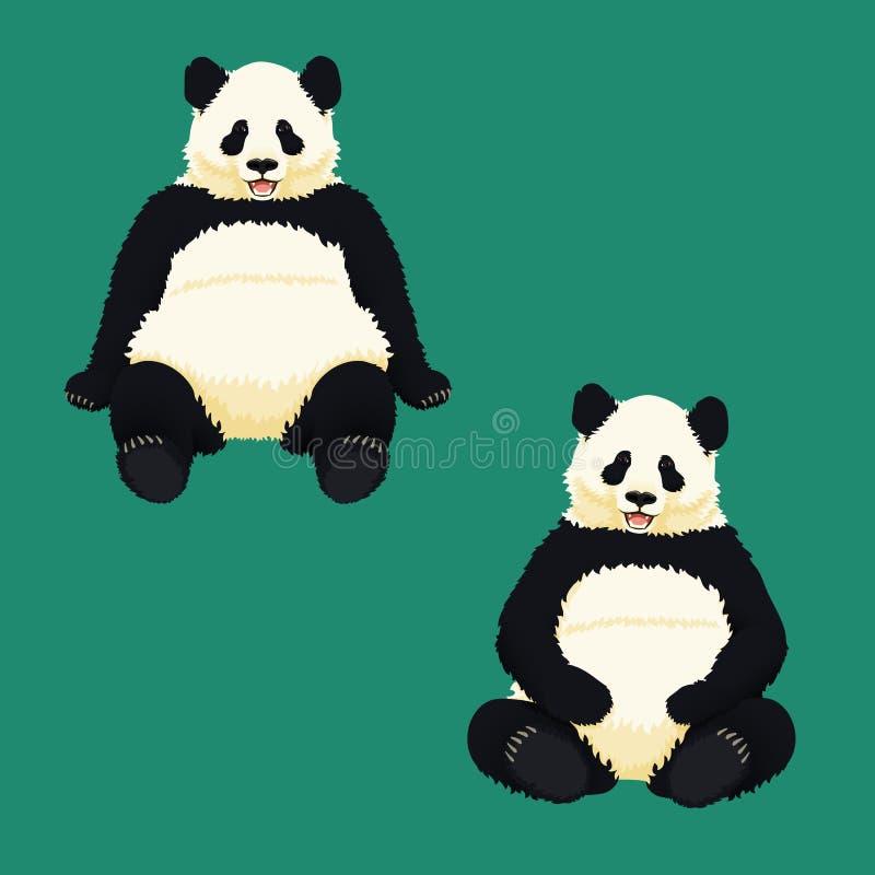 Pandas gigantes que se sientan, relajándose y sonriendo Osos blancos y negros Especie en peligro libre illustration