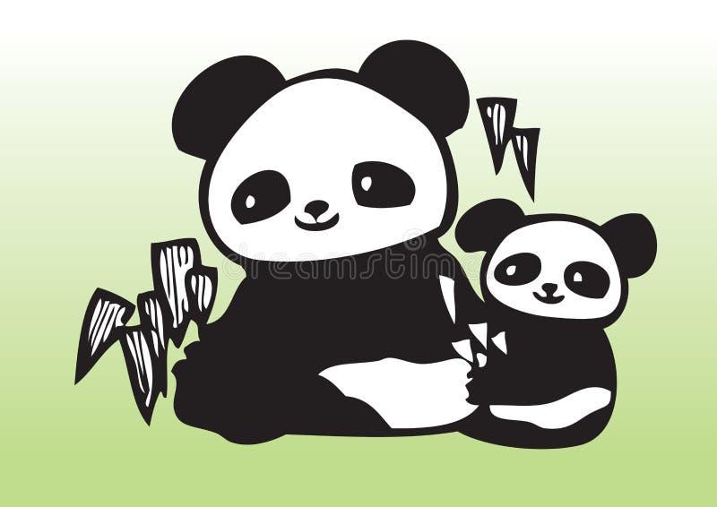 Pandas lindas del drenaje de la mano ilustración del vector