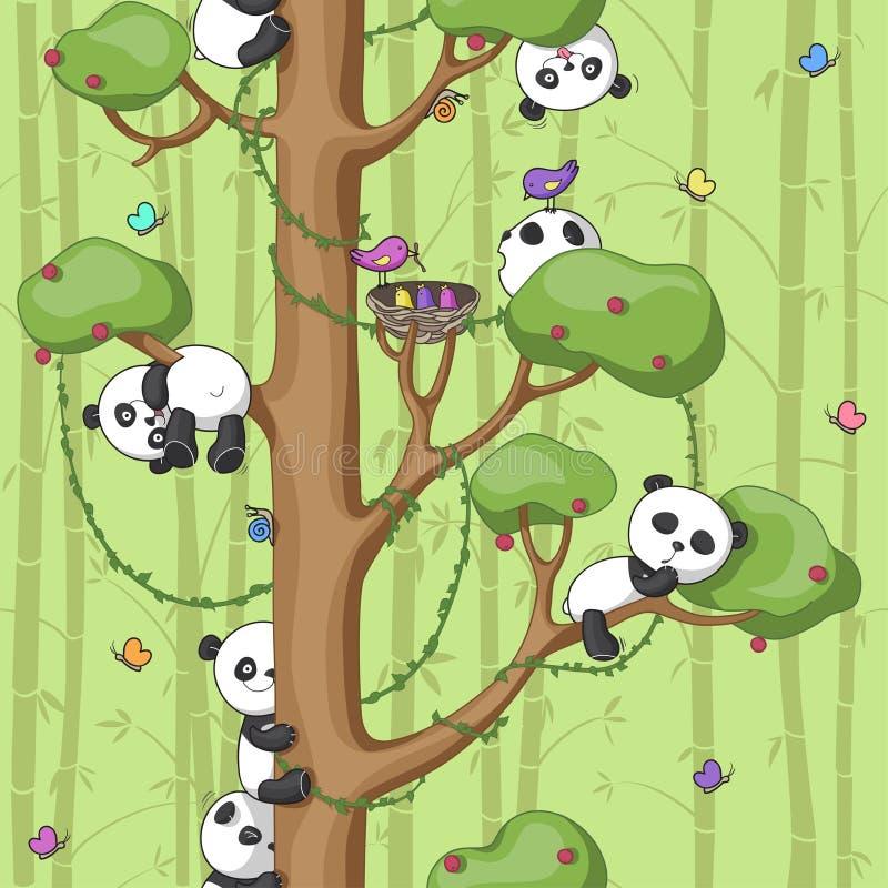 Pandas na árvore ilustração do vetor