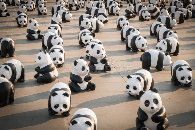 1,600 pandas papier mache sculptures will be exhibited in Bangkok stock photos