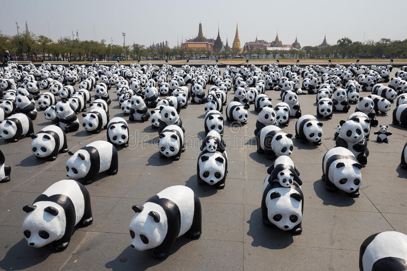 1600 Pandas in Thailand. Bangkok, Thailand – March 4, 2016: 1600 paper Mache Pandas campaign showcase at Bangkok by WWF to promote environmental royalty free stock photo