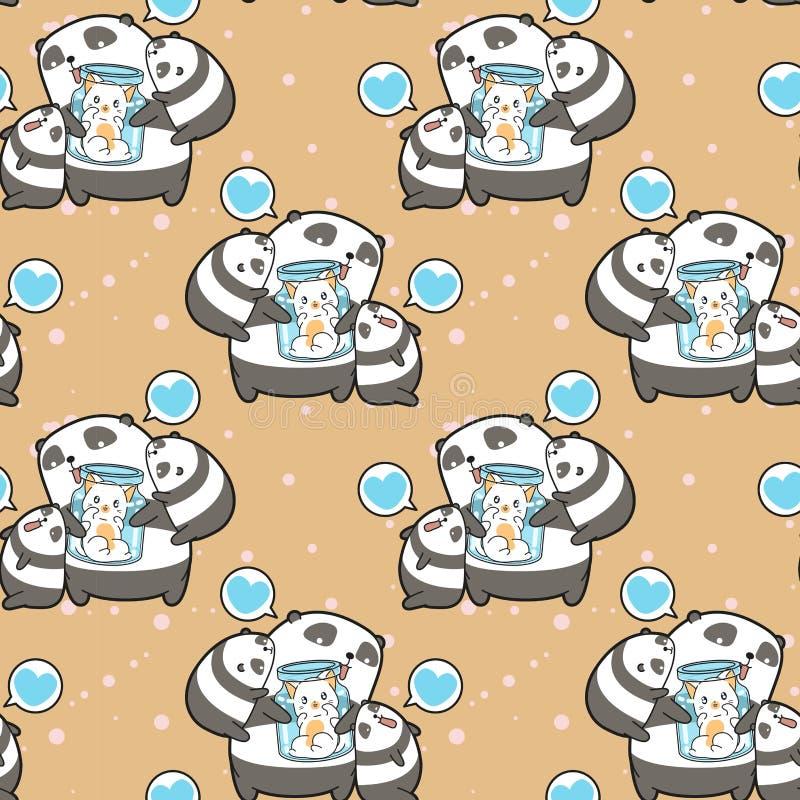 Pandas y gato inconsútiles del kawaii en el modelo de la botella stock de ilustración