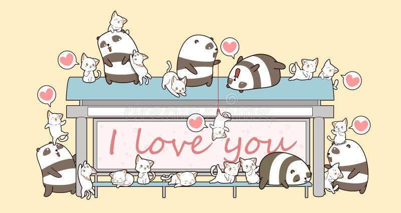 Pandas y gatos de Kawaii en el lugar para esperar un autobús ilustración del vector