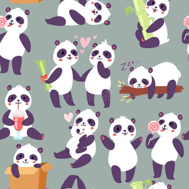 Pandatecken i för modellvektor för olika positioner sömlös illustration Lycklig panda för kinesisk björn Djurt dricka royaltyfri illustrationer