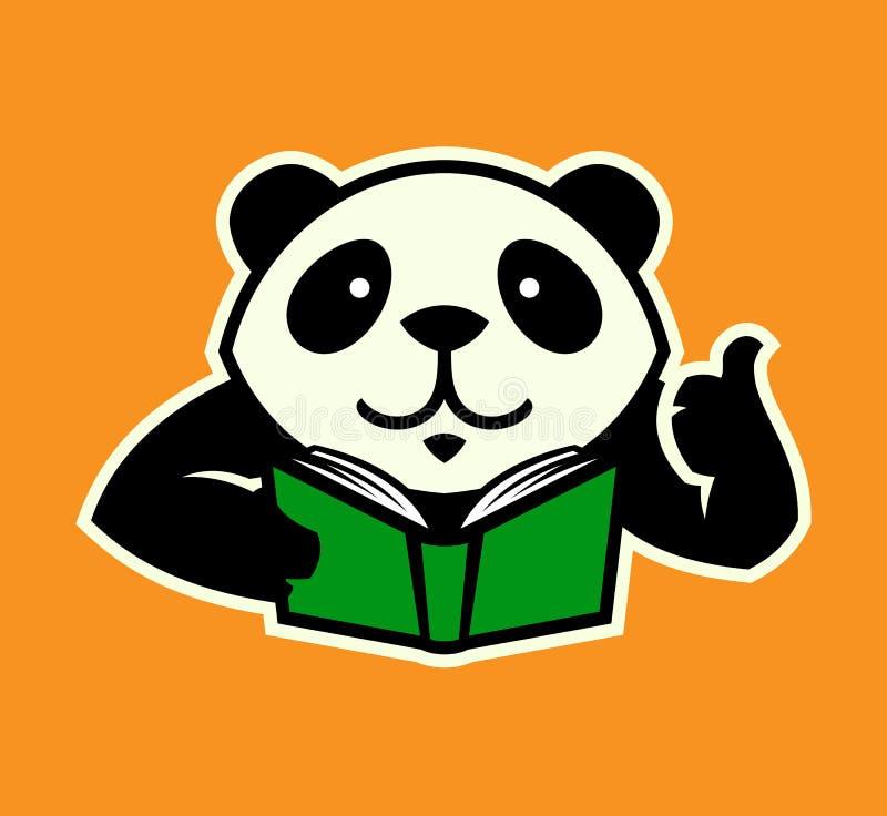 Pandatecken med boken och tummen upp royaltyfri illustrationer