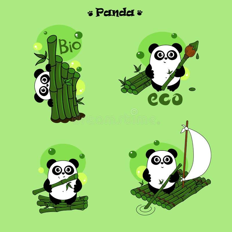 Pandatecken med den gröna uppsättningen för bambuvektorillustration stock illustrationer