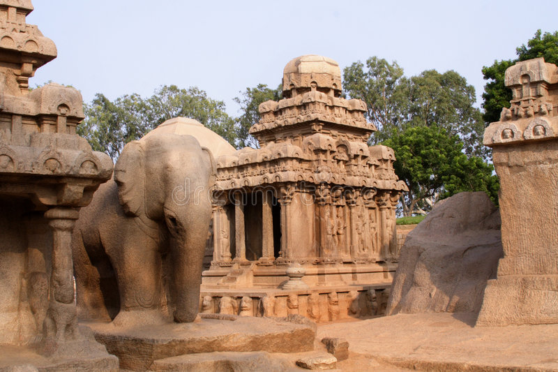 Pandava Rathas , Mamallapuram royalty free stock images