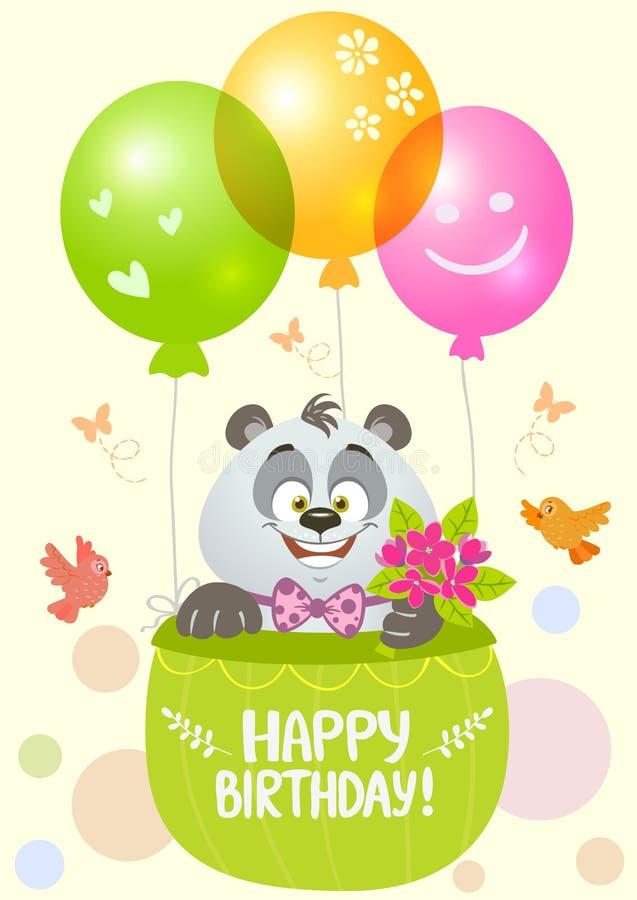 Pandaverjaardag stock illustratie