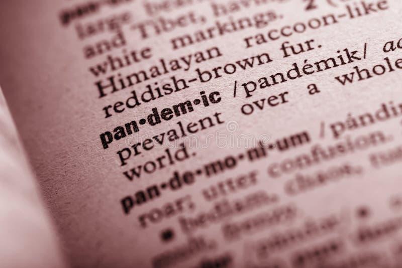 Pandemia w słowniku obraz stock