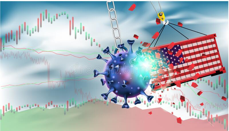 Pandemic and flu outbreak coronavirus or covid-19 effect to USA trade and economy and stock market business and financial. Recession concept. Vector vector illustration