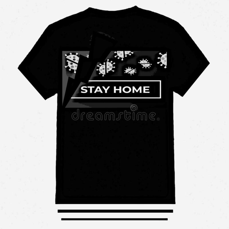 Stay home t-shirt design is simple and elegant. Pandemic t-shirt design is simple and elegant royalty free stock images