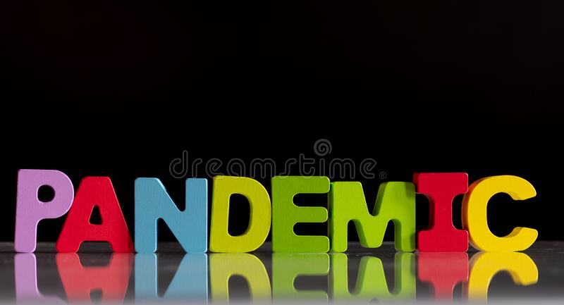 Pandemic word concept on black stock photos