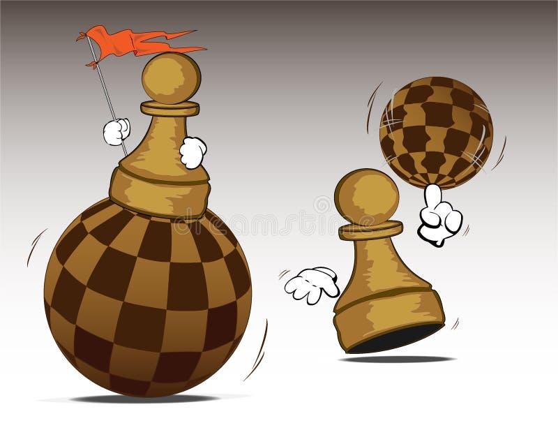 Panden met schaakwerelden stock illustratie