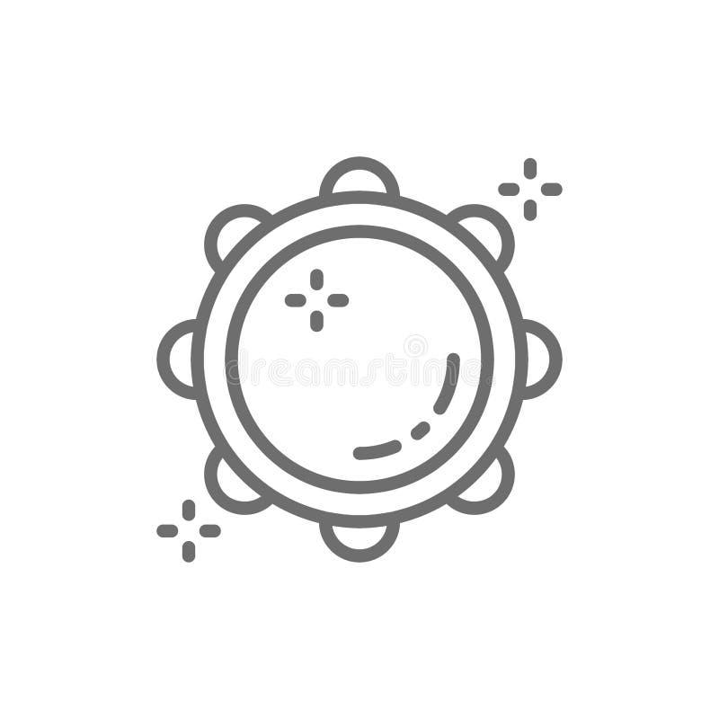 Pandereta, timbrel, línea icono del tabour ilustración del vector