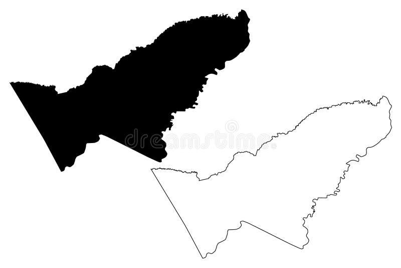 Pando-Abteilungs-multinationaler Staat von Bolivien, Abteilungen der Bolivien-Kartenvektorillustration, Gekritzelskizze Pando-Kar vektor abbildung