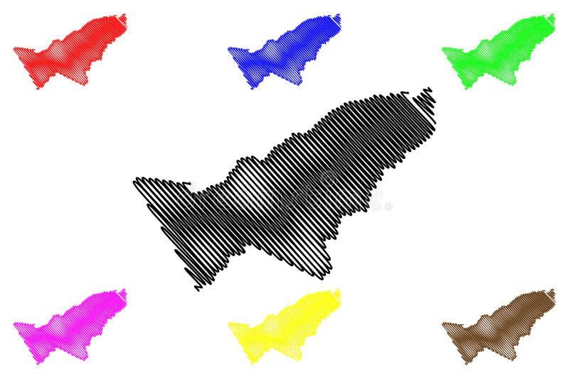 Pando-Abteilungs-multinationaler Staat von Bolivien, Abteilungen der Bolivien-Kartenvektorillustration, Gekritzelskizze Pando-Kar stock abbildung