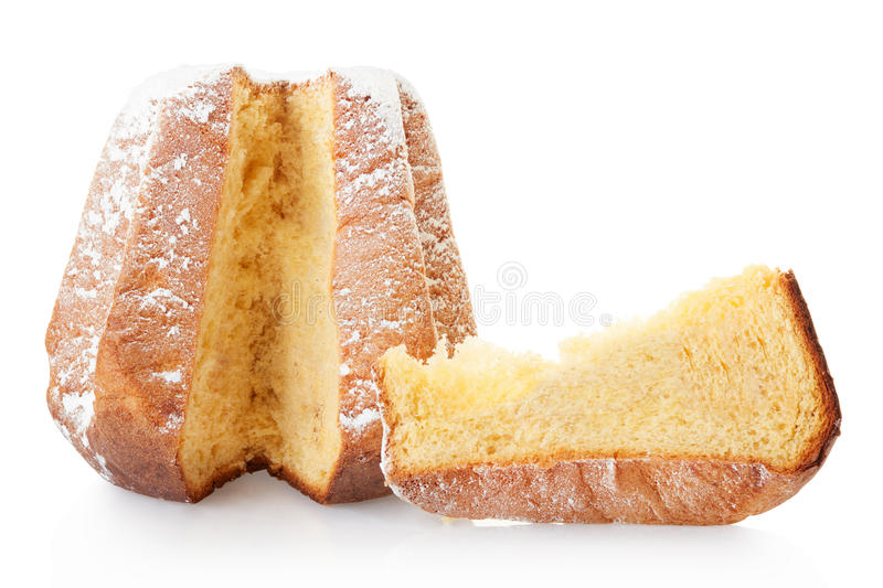 Pandoro, Italian Christmas cake and portion stock image