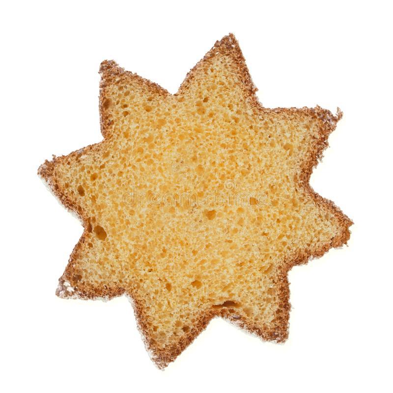 Pandoro, traditional Italian Christmas cake slice with icing sugar isolated on white. Star shape. royalty free stock photography