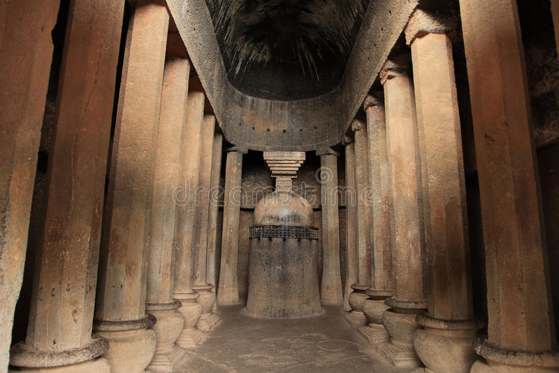 Pandu Leni caves. A prayer hall inside the Pandu Leni caves situated in Nashik, Maharashtra, India. This 3rd BC caves were built by Hinayana Buddhists stock images