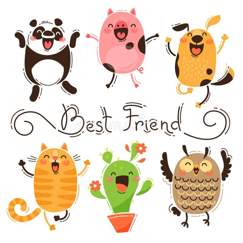 Pandy, świni, psa, kota i sowy najlepszy przyjaciele, Odosobneni Wektorowi wizerunki Śmieszni zwierzęta i kaktus szczęśliwa dzień royalty ilustracja