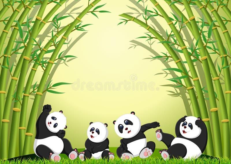 Pandy akcja bawić się wpólnie pod bambusem ilustracja wektor