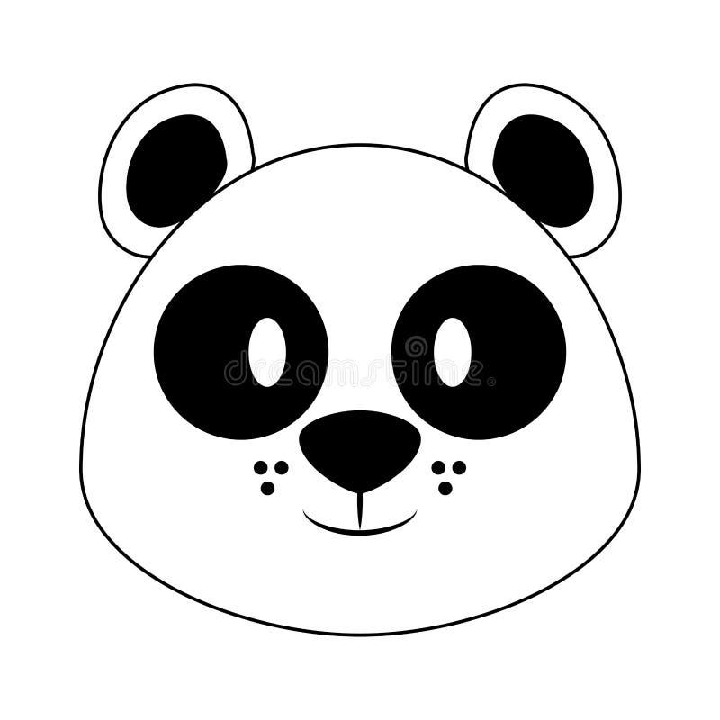 Pandy kierowniczej przyrody ?liczna zwierz?ca kresk?wka w czarny i bia?y royalty ilustracja