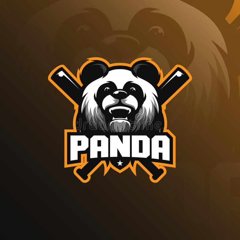 Pandy maskotki logo projekta wektor z nowożytnym ilustracyjnym pojęcie stylem dla odznaki, emblemata i tshirt druku, Pandy ilustr ilustracja wektor