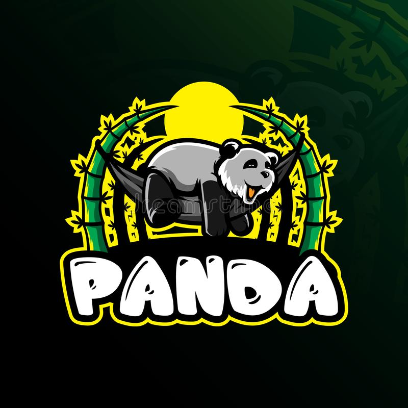 Pandy maskotki logo projekta wektor z nowożytnym ilustracyjnym pojęcie stylem dla odznaki, emblemata i tshirt druku, sen panda royalty ilustracja