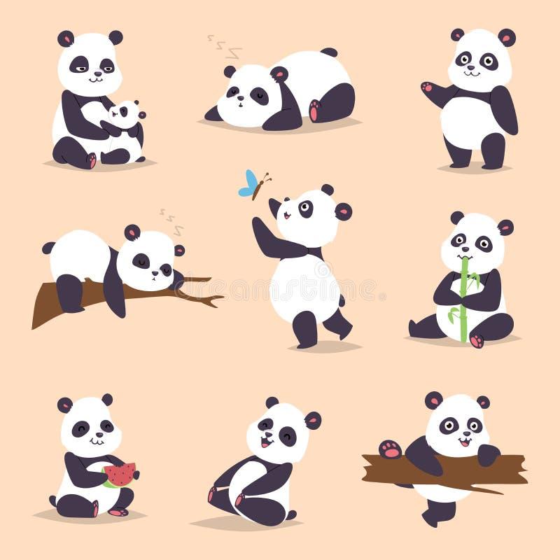 Pandy postać z kreskówki w różnorodnym wyrażeniowym wektorowym zwierzęcym białym ślicznym porcelanowym czarnym panda niedźwiedzia ilustracja wektor