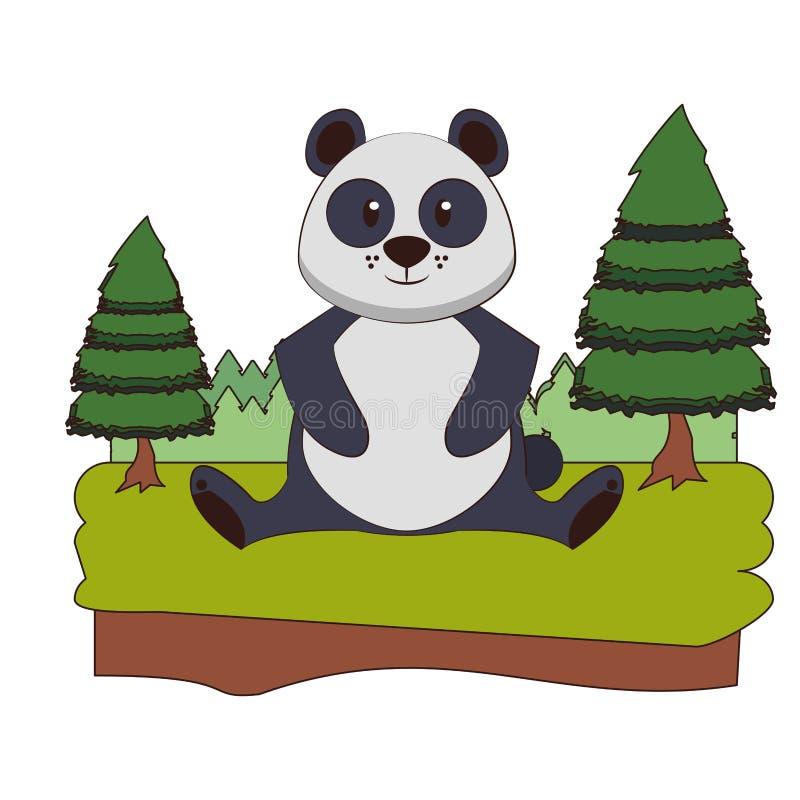 Pandy przyrody ?liczna zwierz?ca kresk?wka royalty ilustracja