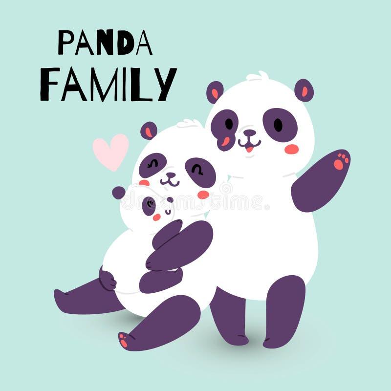 Pandy rodzina z dorosły matką i ojciec z dzieckiem znosimy sztandaru wektoru ilustrację Śliczny mamy mienia małe dziecko i royalty ilustracja