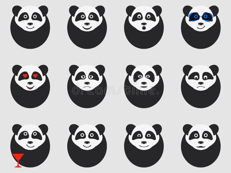 Pandy ustawiać emoticons wektor ilustracji