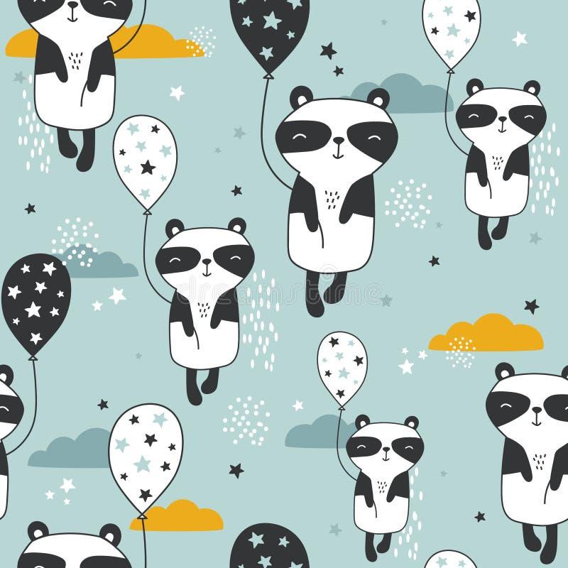 Pandy z lotniczymi balonami, ręka rysujący tło Kolorowy bezszwowy wzór z ślicznymi zwierzętami, gwiazdy, chmury royalty ilustracja