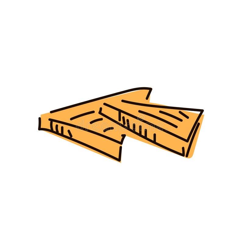Pane affettato del pane tostato isolato su fondo bianco, vista superiore illustrazione vettoriale