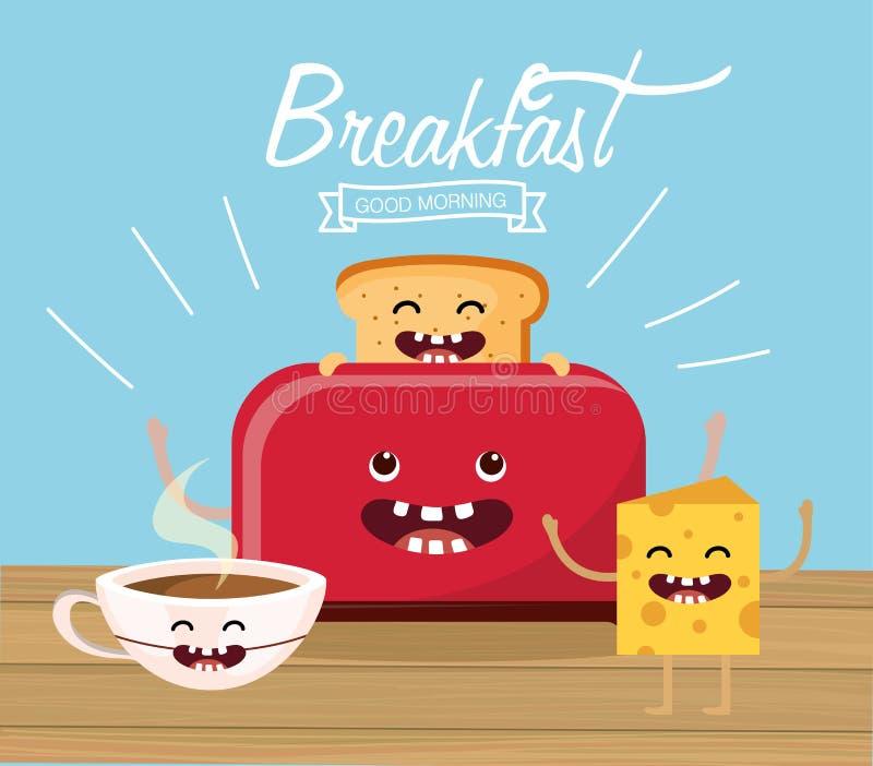 Pane affettato felice con la tazza ed il formaggio del cacao illustrazione di stock