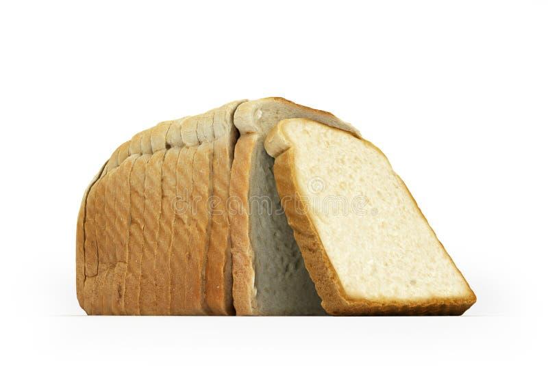 Pane affettato isolato su fondo bianco 3d illustrazione di stock