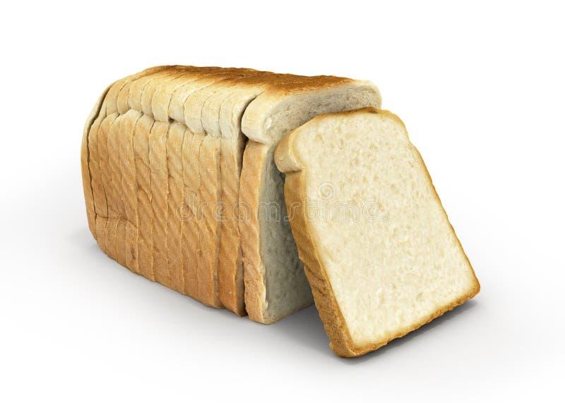Pane affettato isolato su fondo bianco 3d royalty illustrazione gratis